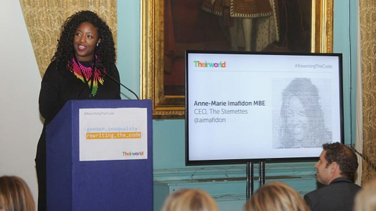 Anne-Marie Imafidon, presenting at a STEM conference