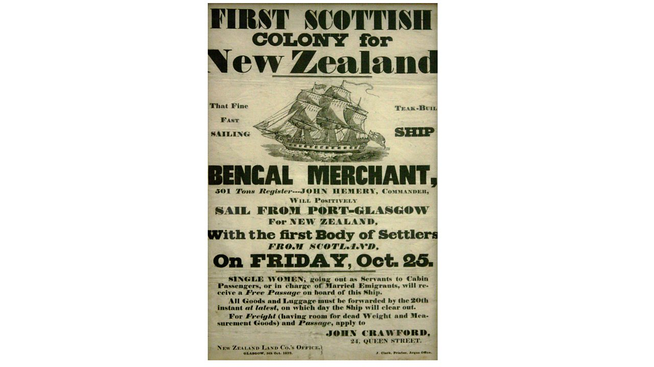 A poster advertising passage to New Zealand from Glasgow.