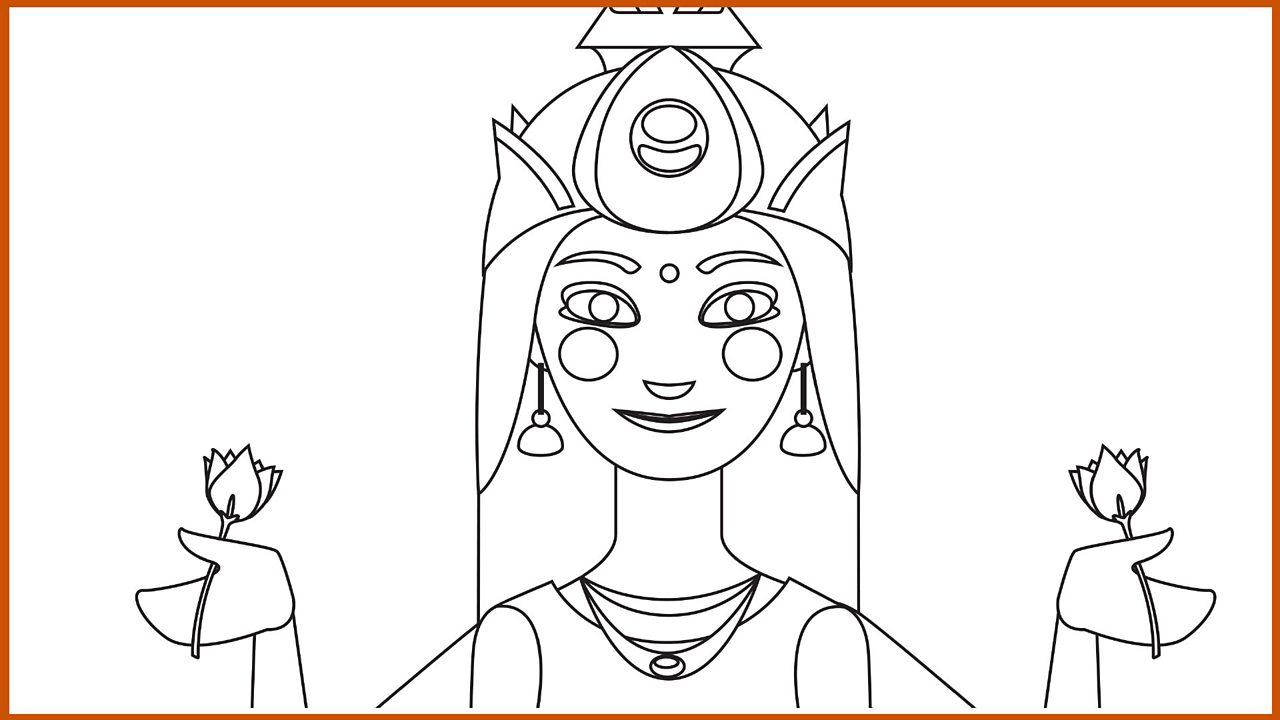 Outline drawing of the goddess Lakshmi (pdf)