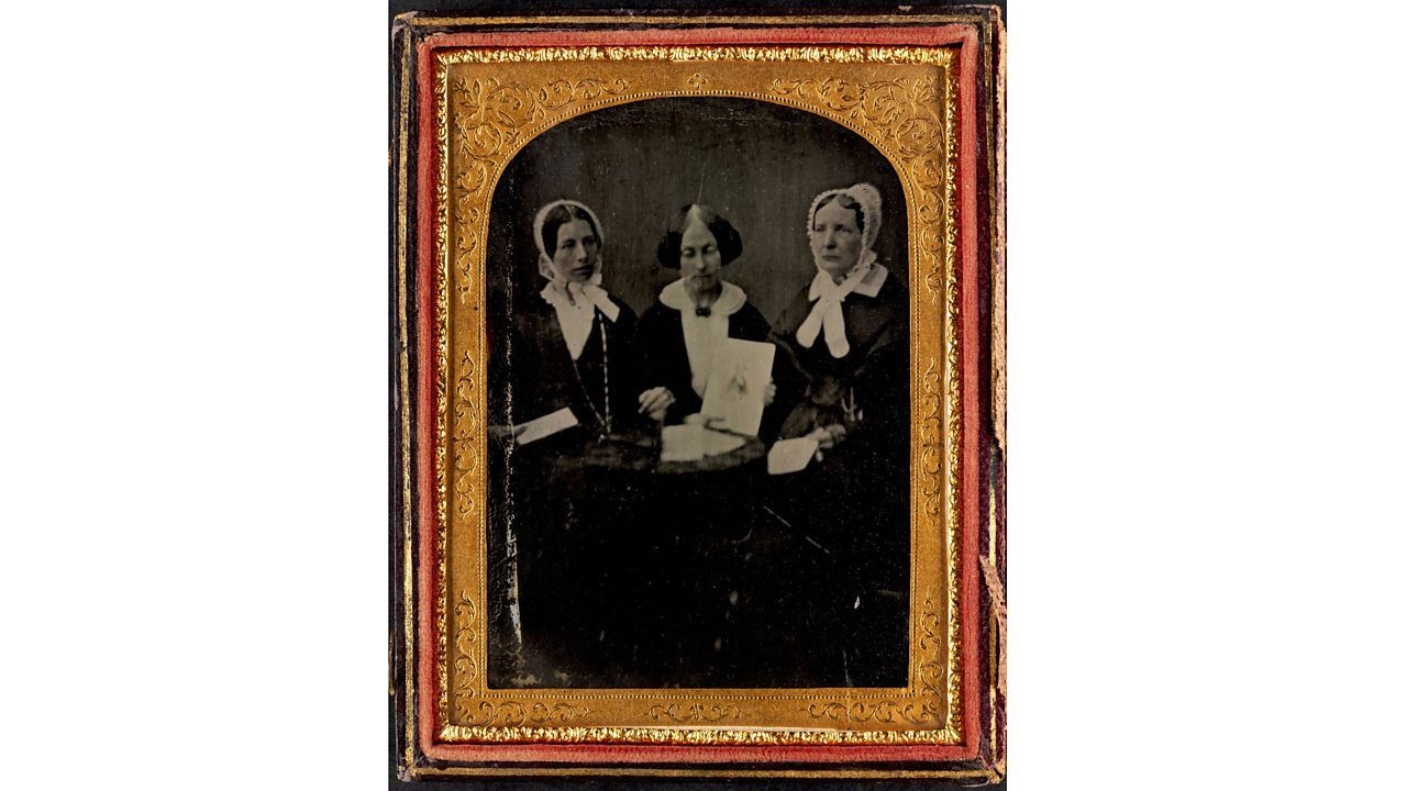 An old photograph showing Eliza, her sister Jane and their friend Mary Estlin