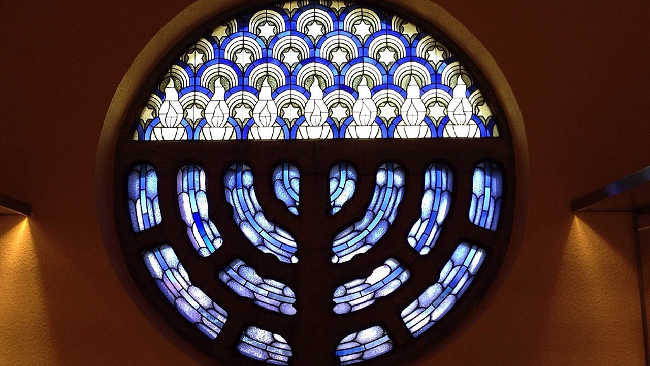 Judaism – A stained window in a synagogue