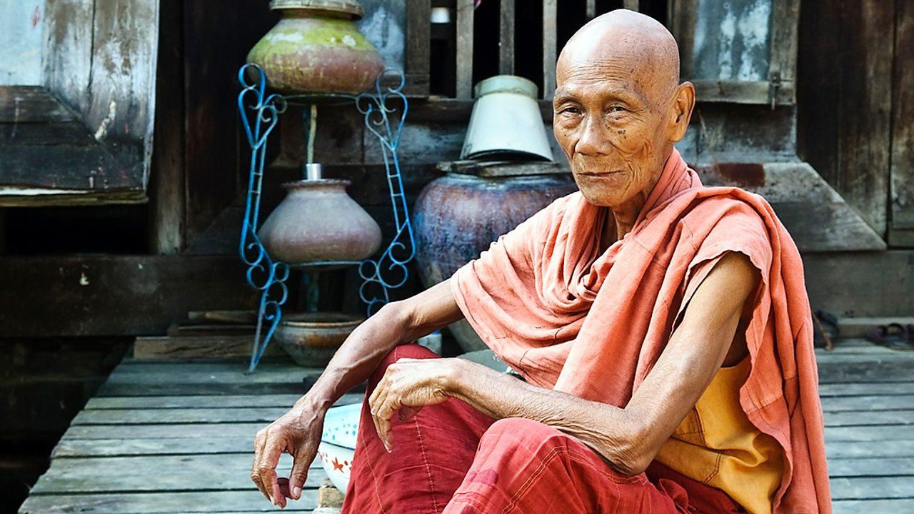 Buddhism – An elderly monk in Mandalay, Myanmar