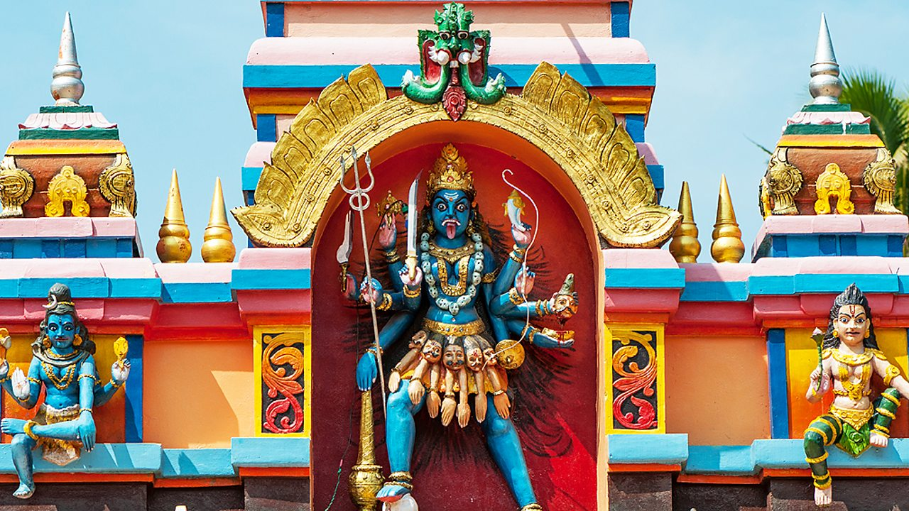 Hinduism – A statue of the goddess Kali on a temple in Kerala, India