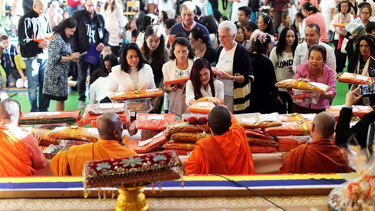 Buddhists celebrating Kathina