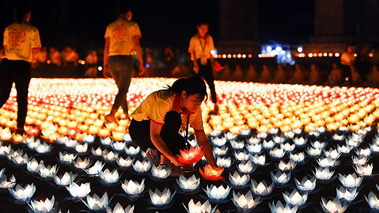 Buddhists celebrating Wesak