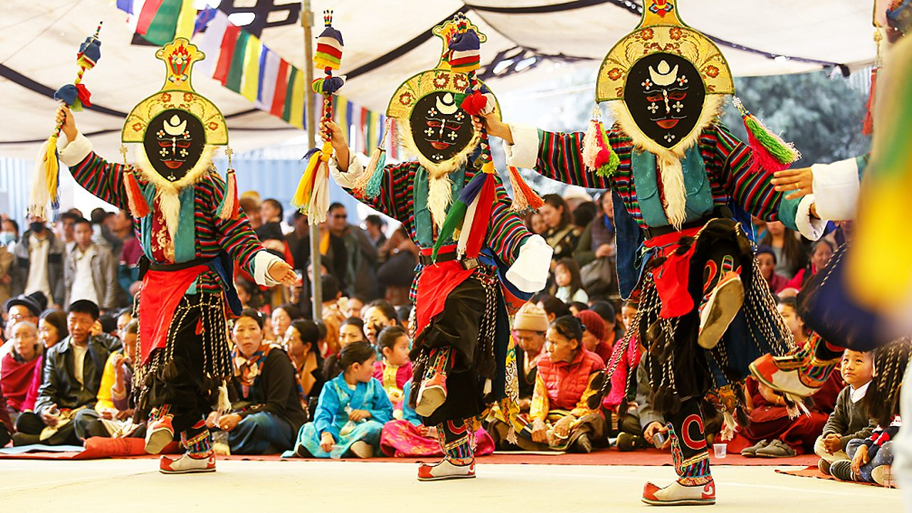 Buddhist mask dance at the festival of Losar