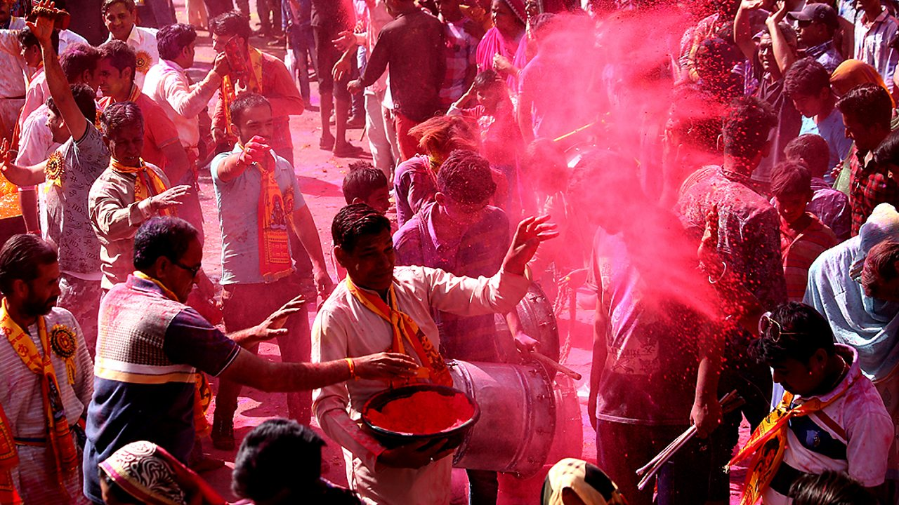 Holi celebrations with paint being thrown