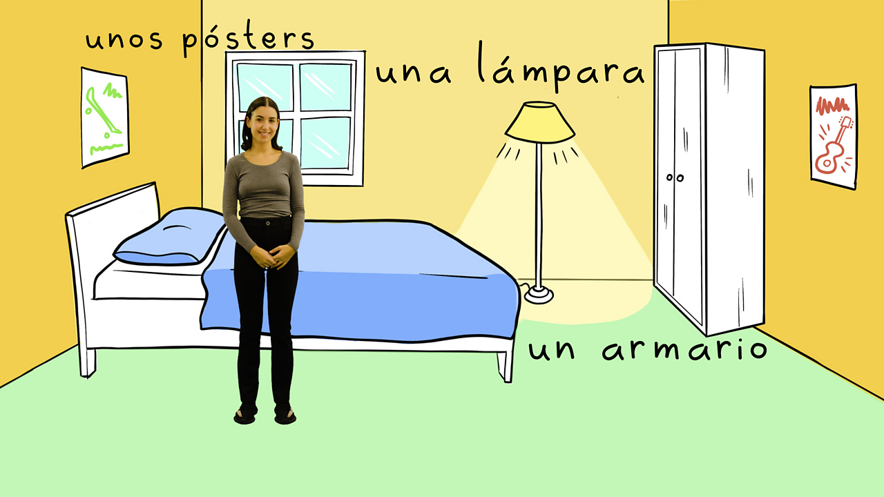 Describing your room in Spanish using 'hay', 'no hay' and adjectives