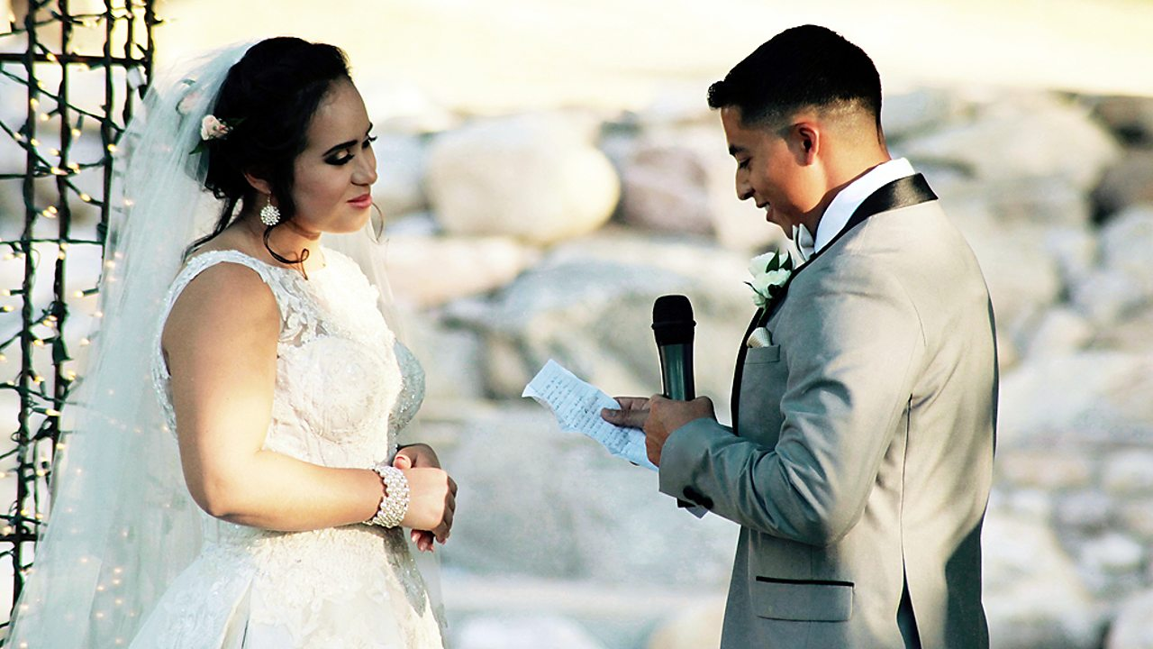 Exchanging vows at a wedding