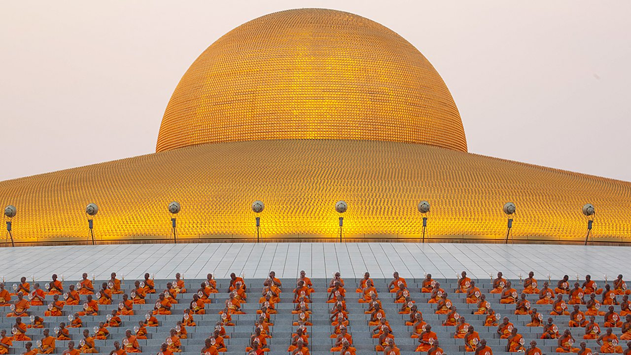 Buddhists monks gathered for Sangha Day