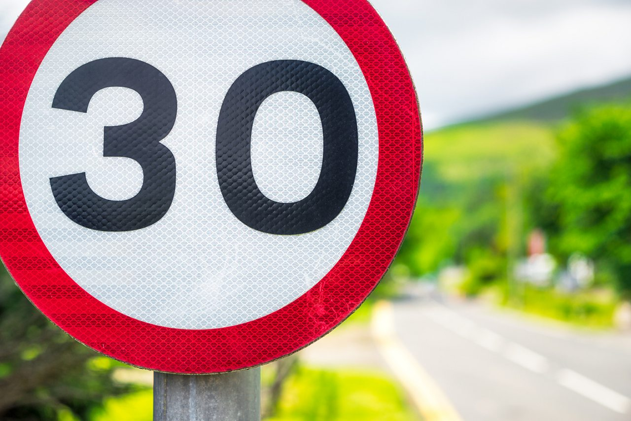 Thirty miles per hour speeding sign