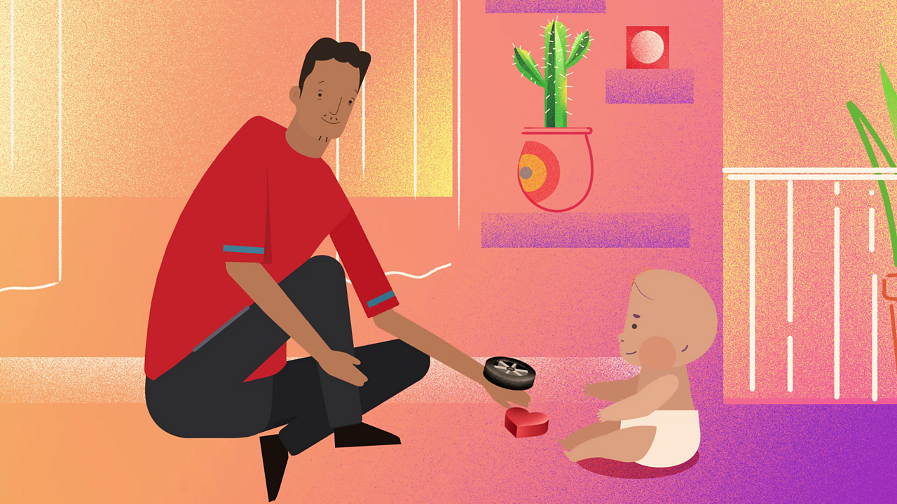 Cartoon Dad with baby.