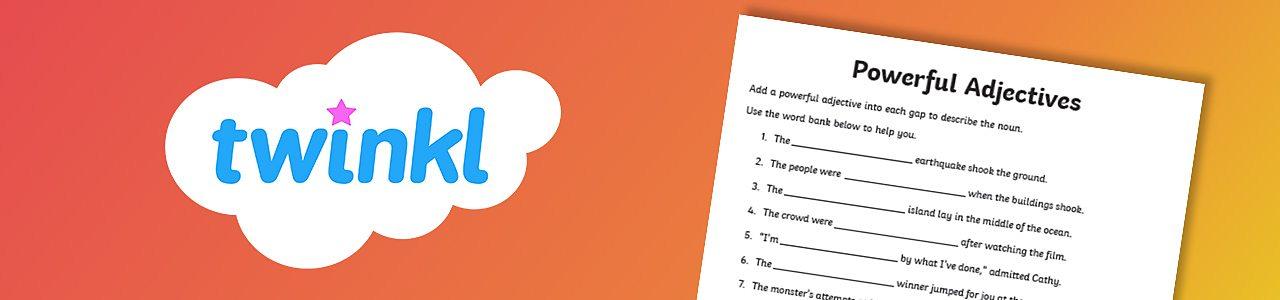 Powerful adjectives activity sheet