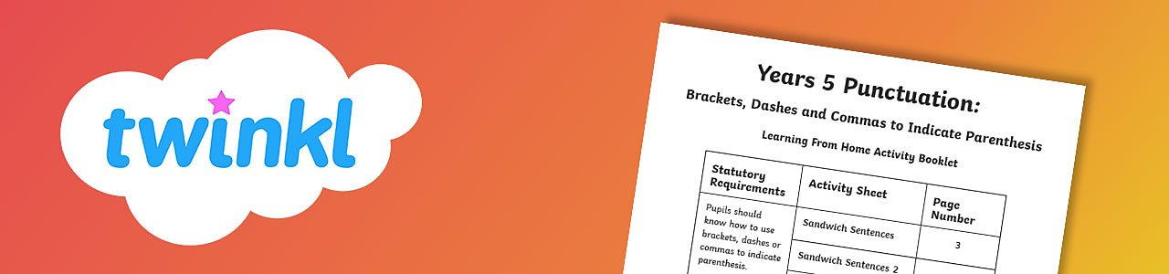 Brackets, dashes and commas worksheet