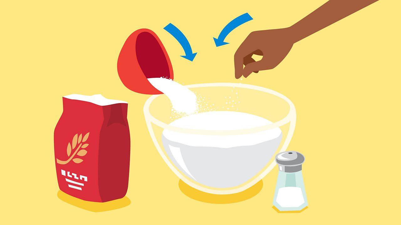 Mix (mélange) the flour and salt in a bowl (un bol).