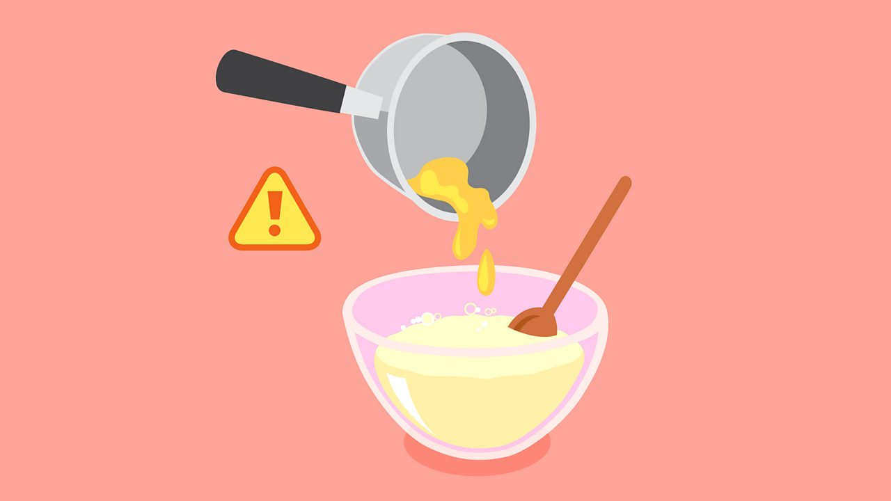 Get an adult to melt (fondre) the butter in a pan (une poêle) and add this to your mixture.