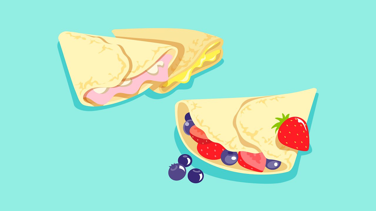 For savoury crêpes, try ham, cheese or mushrooms and for sweet crêpes, try lemon juice and sugar or fruit.