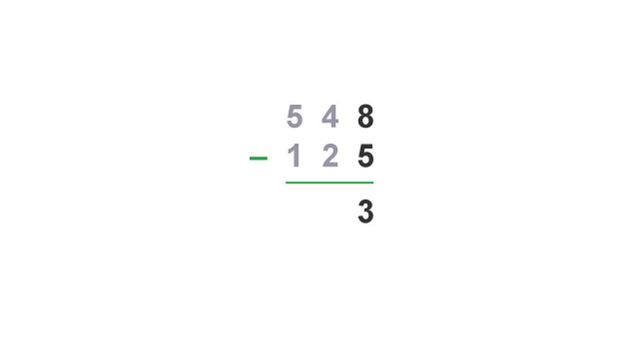 Start from the ones column: 8 - 5 = 3