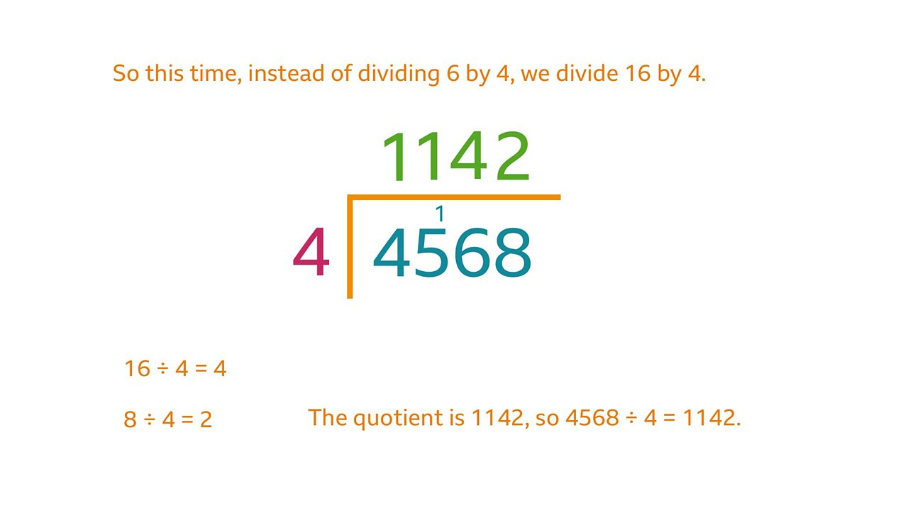 To continue, instead of dividing 6 by 4, we divide 16 by 4. 16 divided by 4 = 4. 8 divided by 4 =2. The quotient is 1142 so 4567 divided by 4 = 1142.