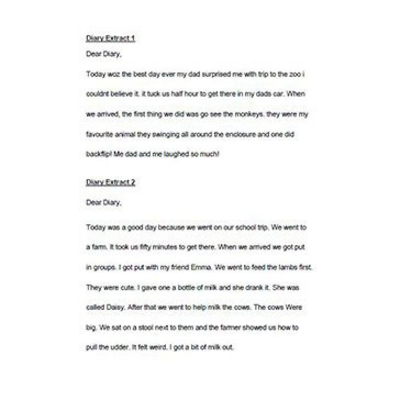 Diary Extracts 1 and 2