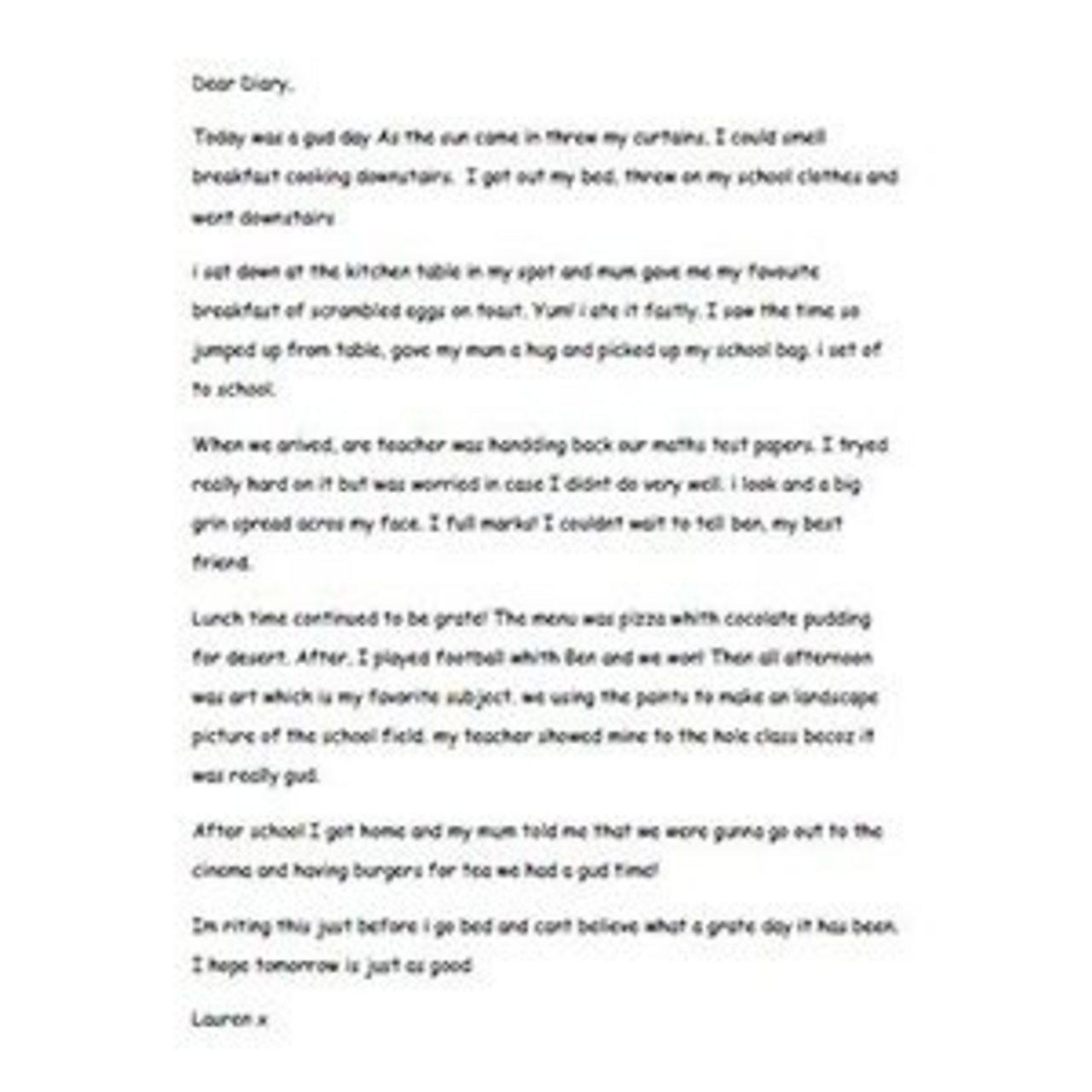 Lauren's diary entry