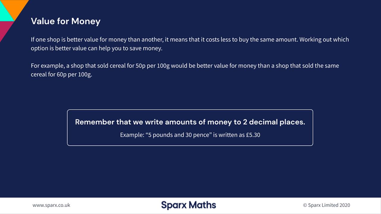 Value for money when shopping