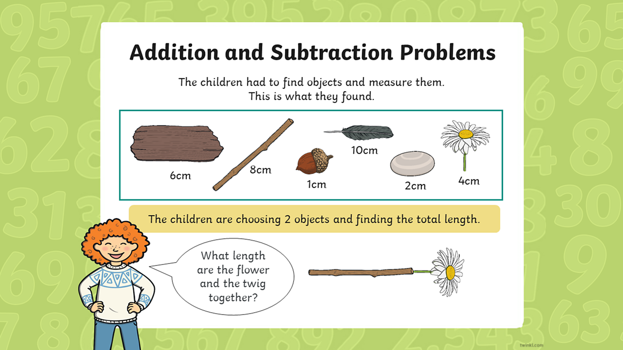 "A pupil asks ""What are the flower and twig together?"" the items and lengths are: a piece of wood 6 cm length; a twig 8 cm long; an acorn 1 cm long; a feather 10 cm long, a stone 2 cm; and a flower 4 cm long."