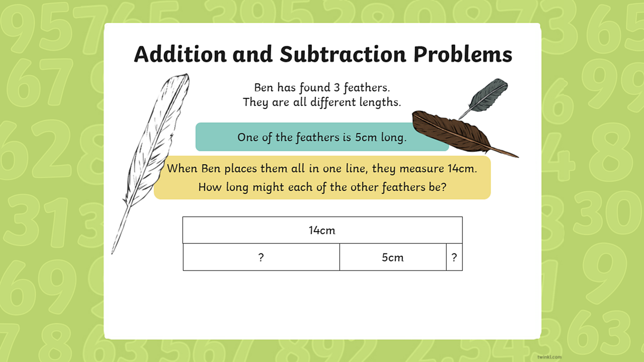 Three feathers are places in a line and equals 14 cm when one feather is 5 cm long, the other two lengths are unknown.