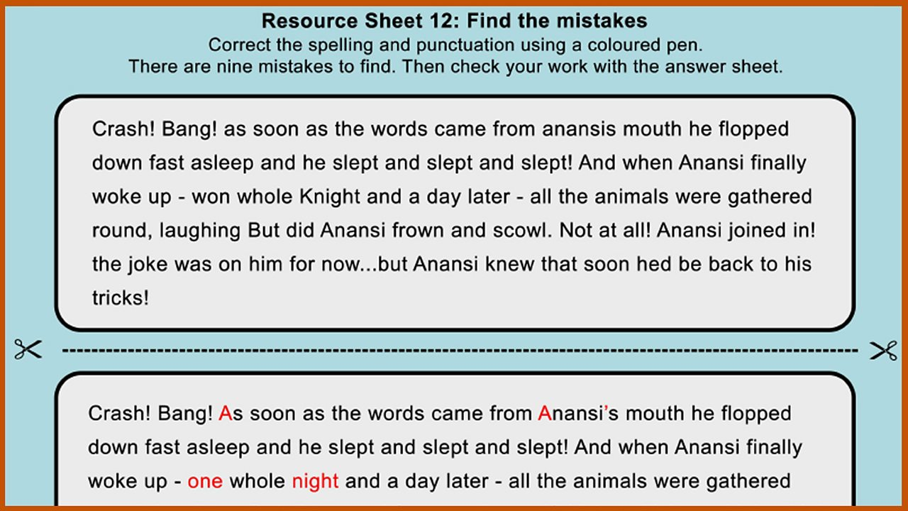 Resource Sheet 12: Punctuation and spelling