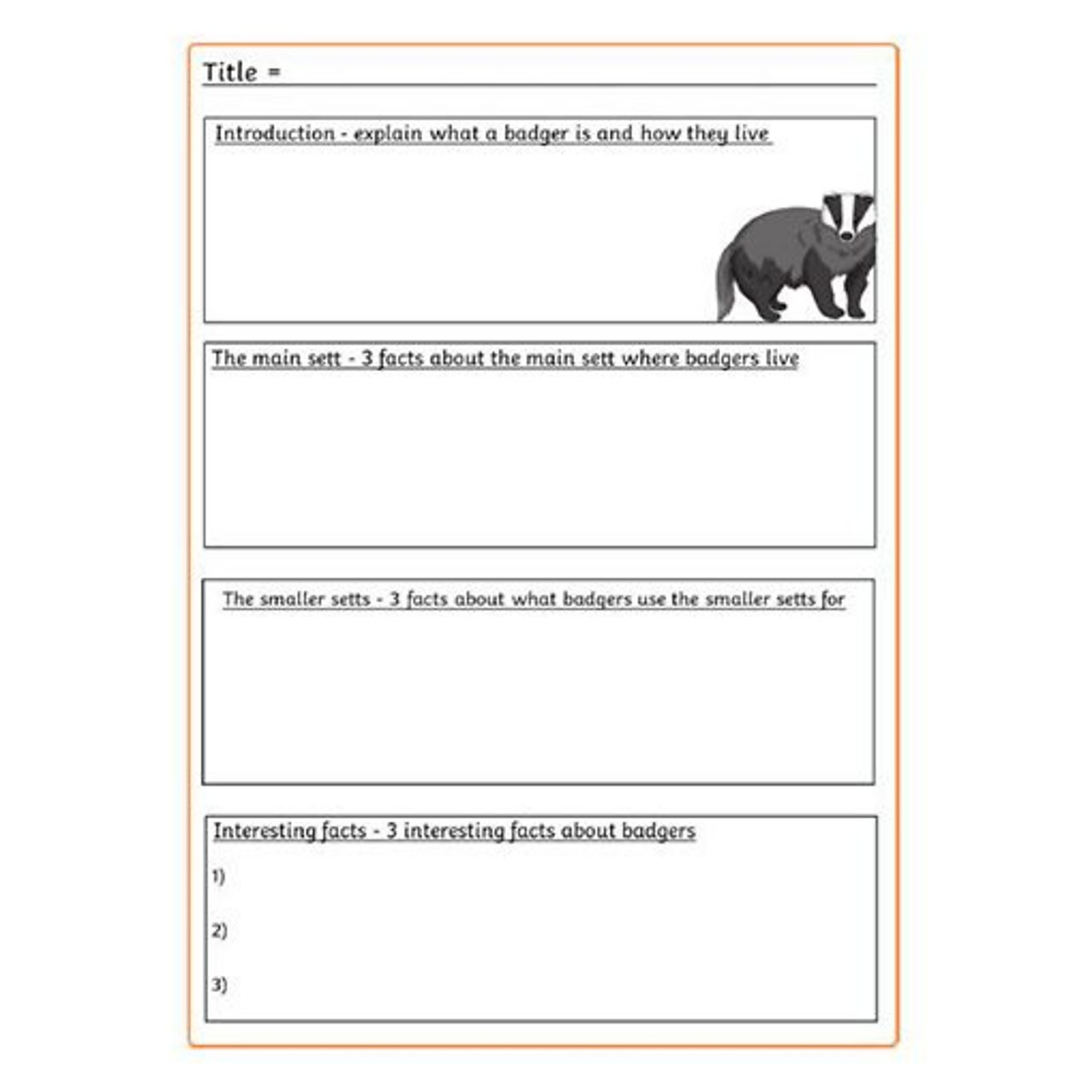 Badger report planning sheet