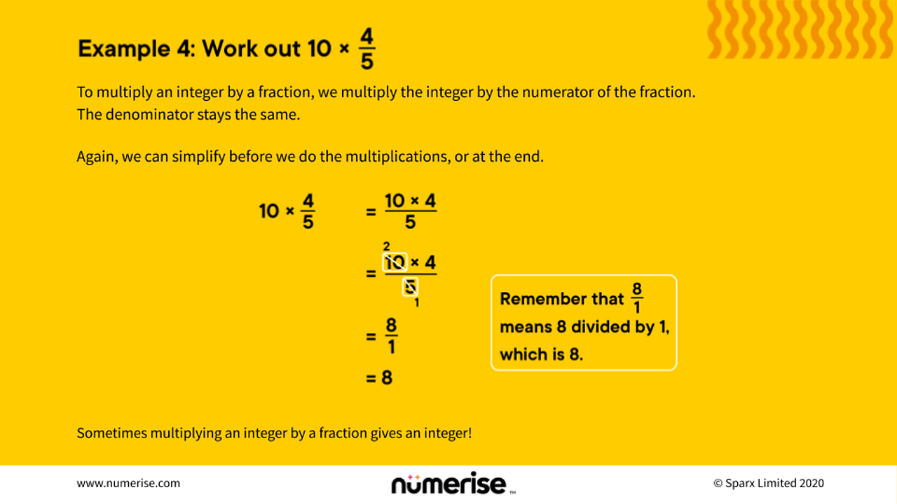 Multiplying an integer and a fraction