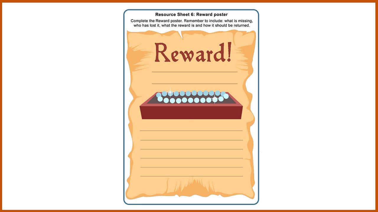 Resource Sheet 6: Reward poster