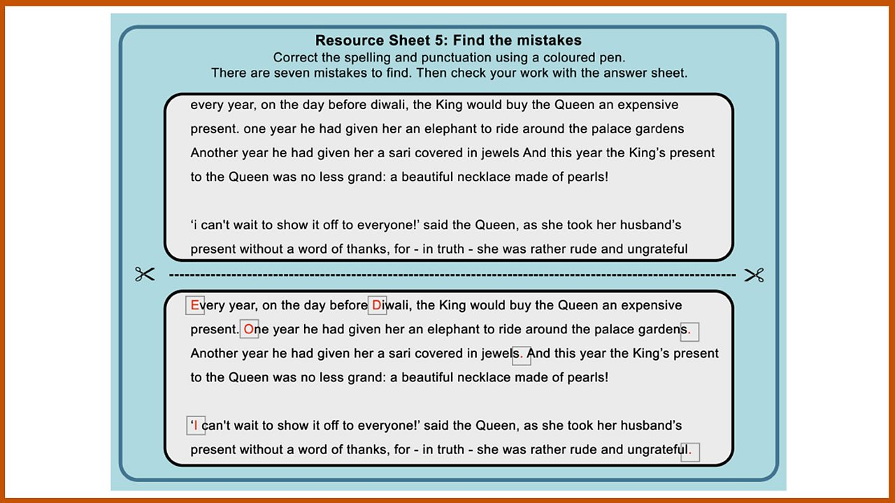 Resource Sheet 5: Find the mistakes