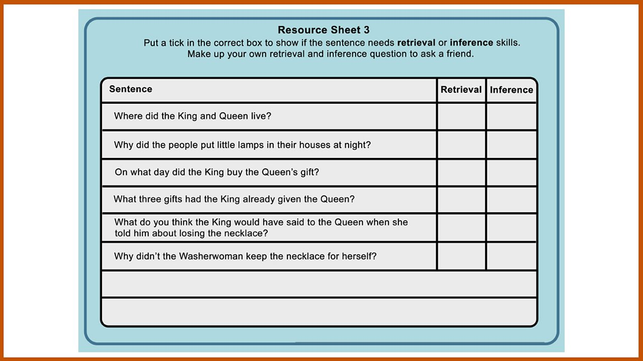 Resource Sheet 3: Retrieval and inference skills