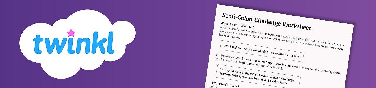 Semicolon challenge worksheet