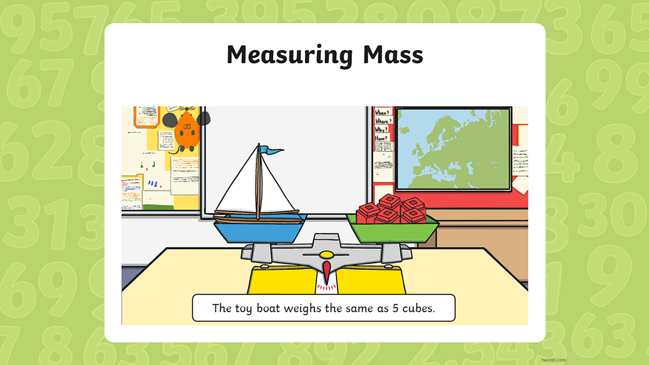The boat and cubes are still placed on the scales with a caption that reads: The toy boat weighs the same as 5 cubes.