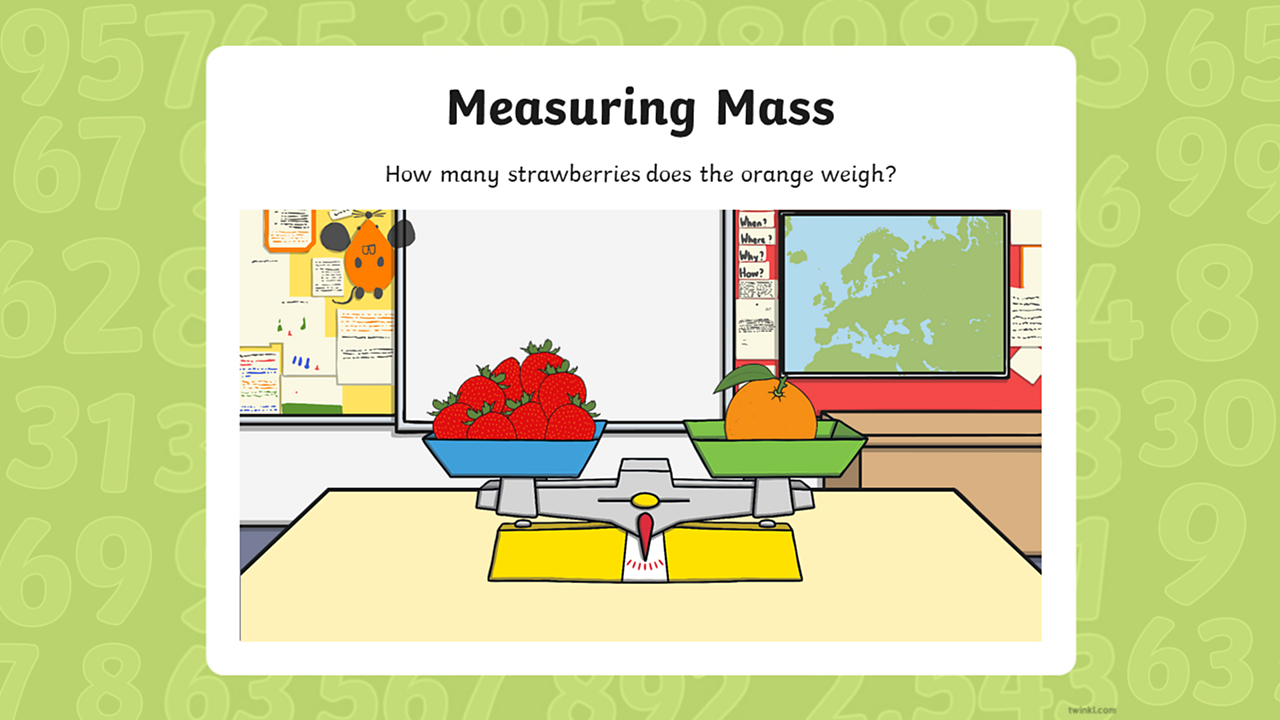 Eight strawberries have been added to the balance scales to equal the mass of orange.