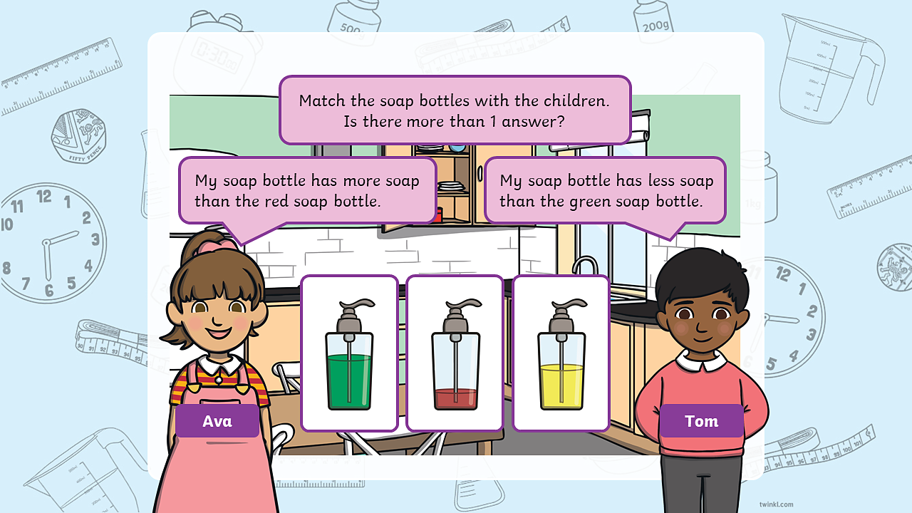 Ava and Tom are each looking for particular soap bottles, they have to choose from a green soap bottle, which is almost full, a red bottle, which is almost empty, and a yellow bottle, which is half full.