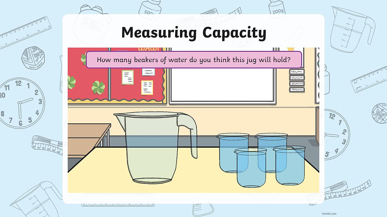 A measuring jug and four full beakers.
