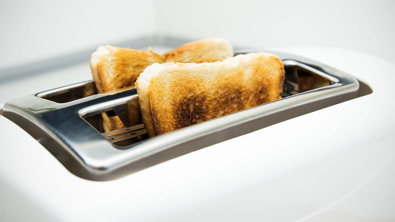 A photo of an electric toaster