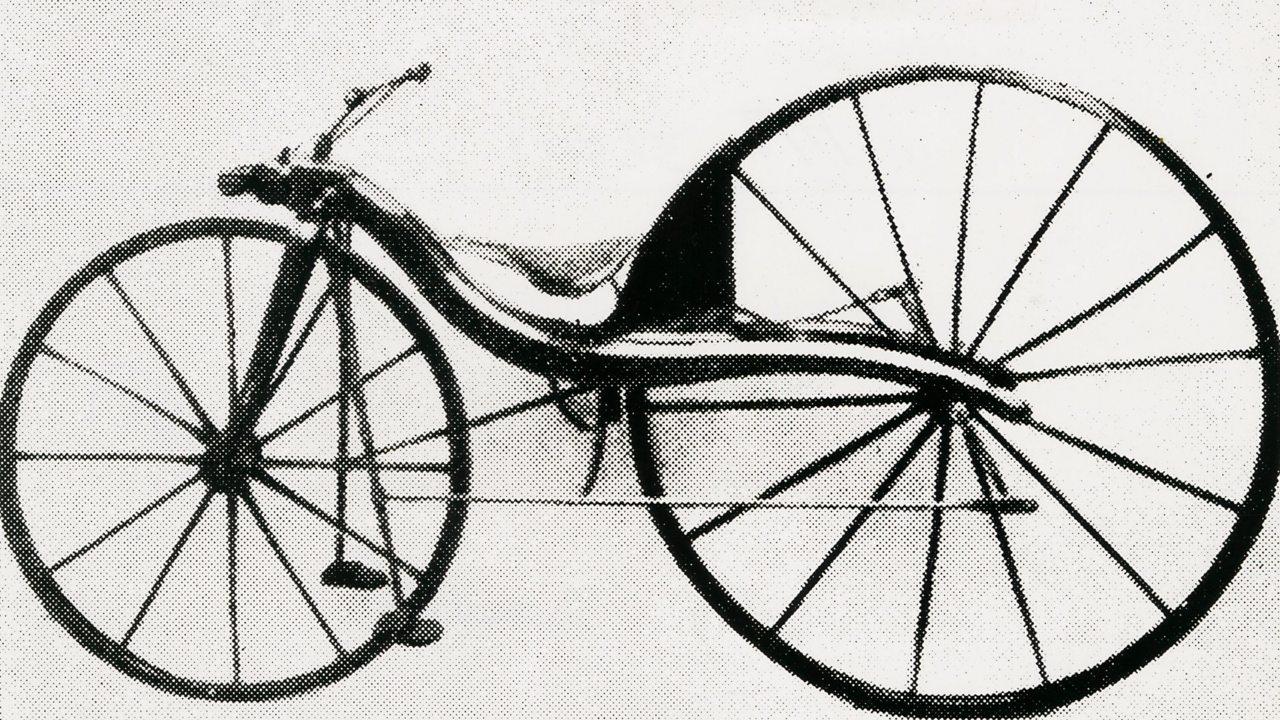 A photo of Kirkpatrick MacMillan's first bicycle