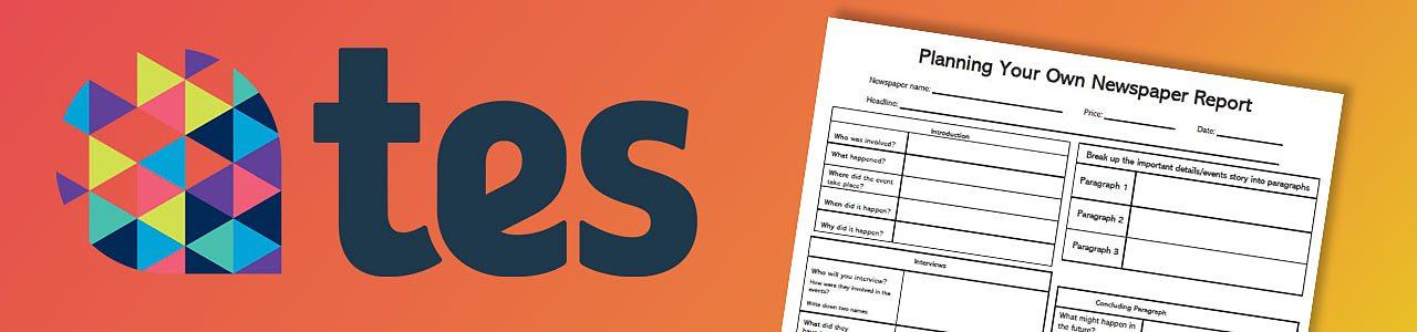 Newspaper report planning worksheet