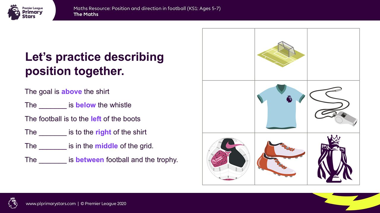 A set of sentences with missing words are shown relating to a grid containing the football associated objects.