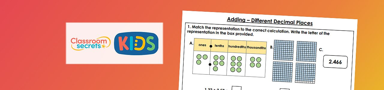 Adding numbers with different decimals places worksheet