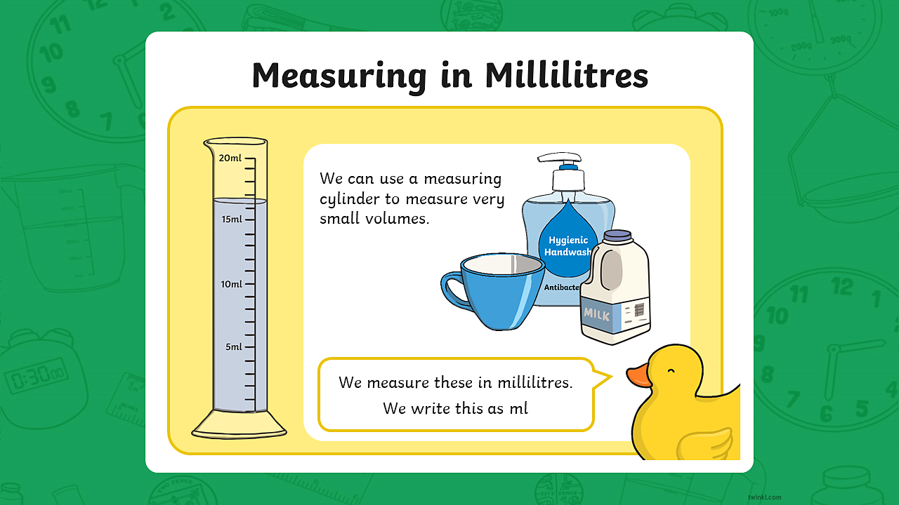 Image of a measuring cylinder, a cup, a bottle of handwash and a bottle of milk.