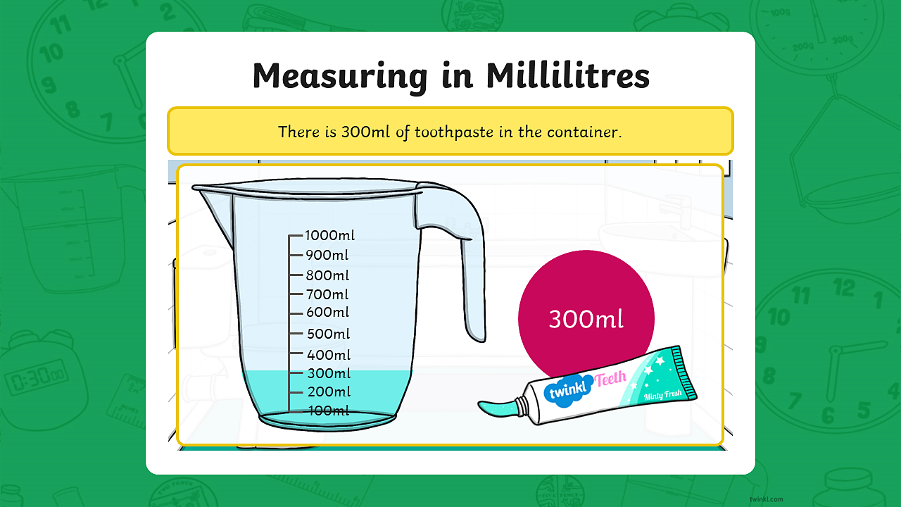 Image of a tube of toothpaste with a measuring jug containing 300ml of toothpaste.