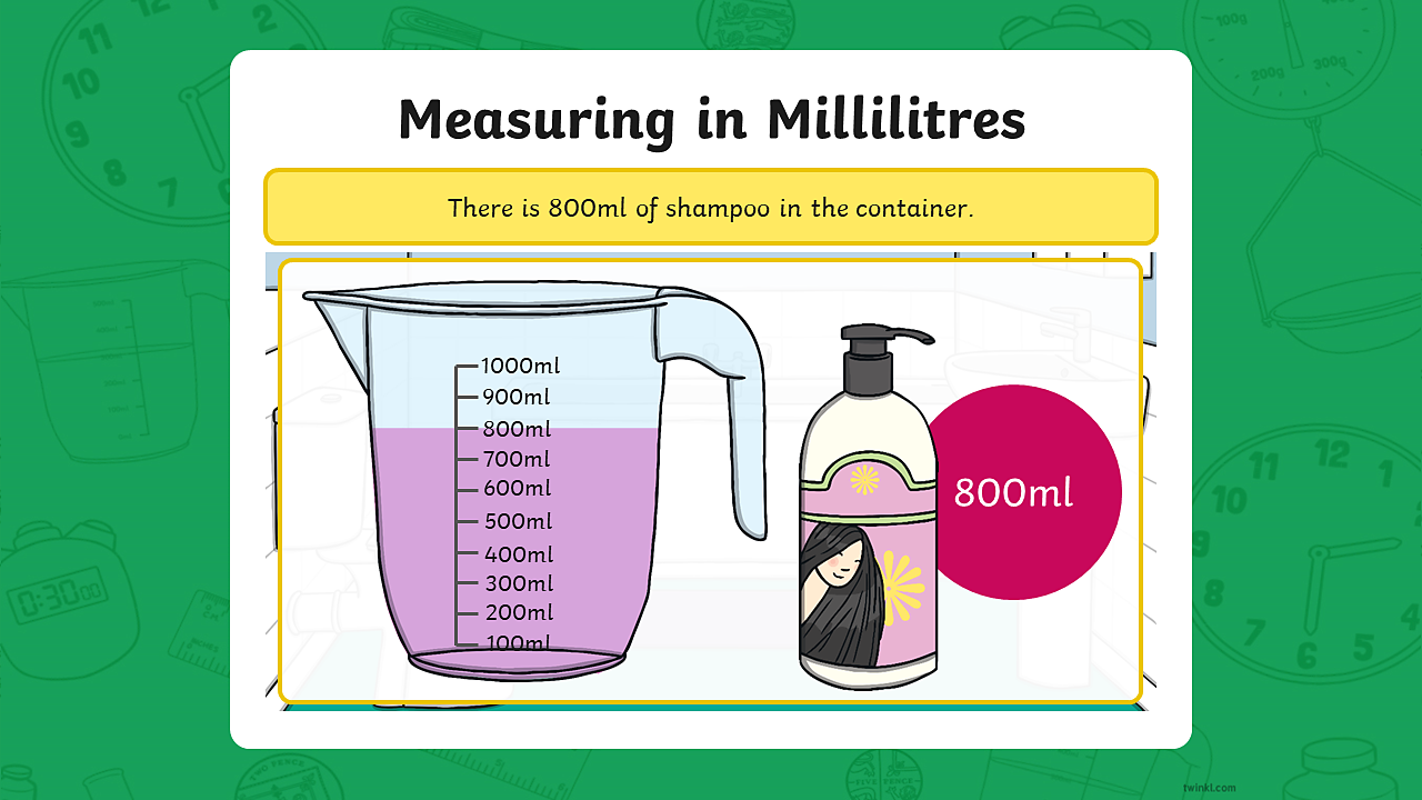 Image of a bottle of shampoo with a measuring jug containing 800ml of shampoo.