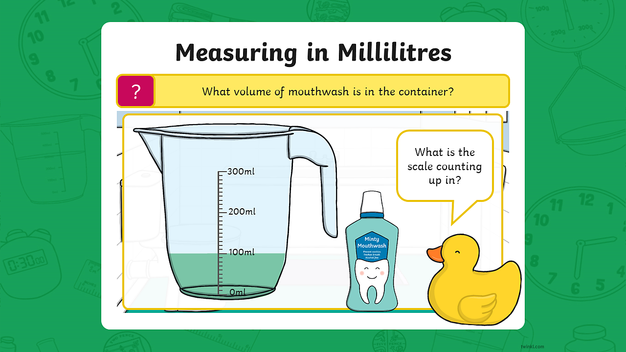 A measuring jug containing 100 millilitres of mouthwash. The scale on the jug is counting up in 100 millilitres. The jug has a capacity of 300 millilitres.