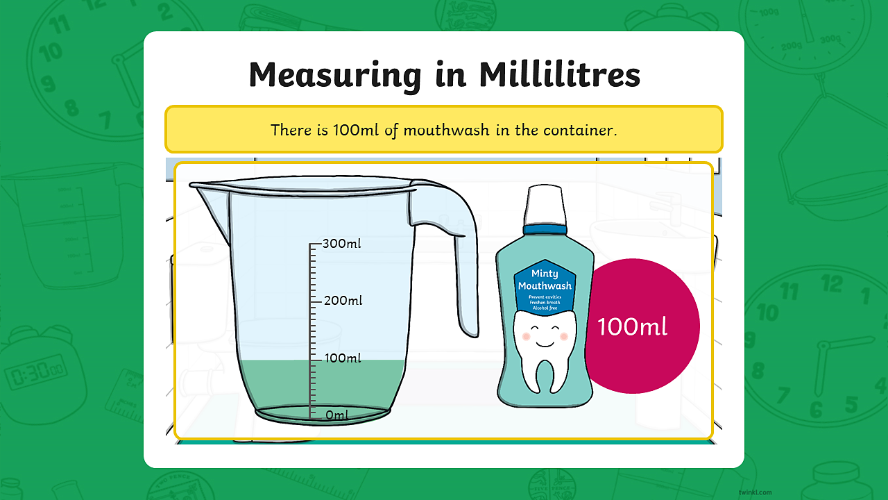A measuring jug containing 100 millilitres of mouthwash.