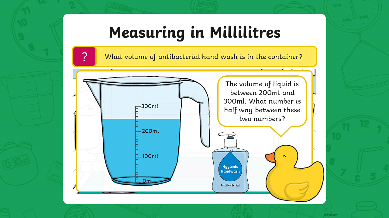 A measuring jug containing 250 millilitres of hand wash. The scale on the jug is counting up in 100 millilitres. The jug has a capacity of 300 millilitres.